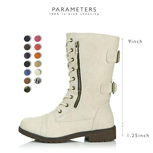 Card Knee Credit Military Women's High Combat Pocket Buckle White Boots Mid Ivory Exclusive PU Up nvxdqYUwxT