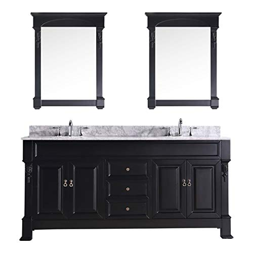 Virtu USA GD-4072-WMRO-DW Huntshire 72-Inch Double Sink Bathroom Vanity with Mirrors, Basins, Dark Walnut - Double Sink Vanity Three Drawers