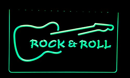 NL194 Rock and Roll Guitar Music Neon Light Signs (green)