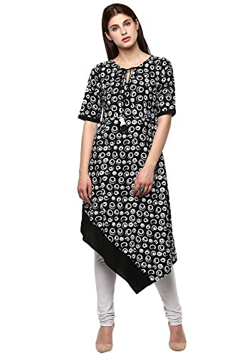 Janasya Women's Black Printed Cotton Kurti