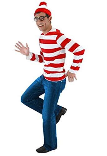 LDamcom Cosplay Where's Waldo Costume Funny Sweatshirt Hoodie Outfit Glasses Hat Cap Suits]()