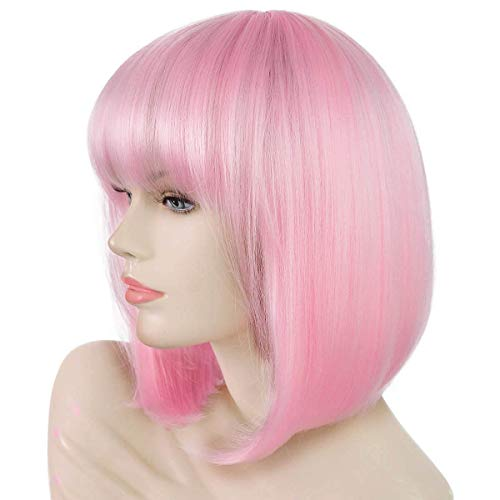 Daiqi Light Pink Short Bob Wig with Bangs for Women 12'' Heat Resistant Synthetic Straight Wigs with Bangs Halloween Cosplay Party Wig Natural As Real Hair (Light Pink)]()