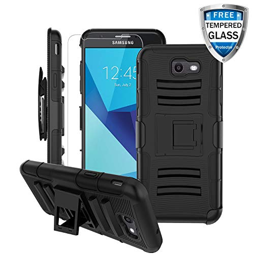 Samsung Galaxy J3 Luna Pro Case,Galaxy J3 Prime/J3 Eclipse/J3 2017/Amp Prime 2/J3 Mission/J3 Emerge Case [Tempered Glass Screen Protector&Kickstand&Swivel Belt Clip] Heavy Duty Armor Case-Black
