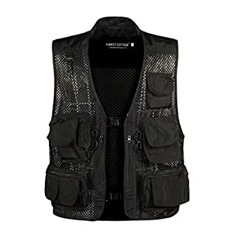 "Elonglin Mens Waistcoat Outdoor Hollow Out Thin Multi-Pockets Vest Camping Fishing Photography Gilet Black Bust 43.3""(Asie M)"