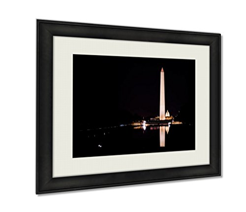 Ashley Framed Prints, Washington Monument National Mall Reflecting Pool Night Contrast, Wall Art Decor Giclee Photo Print In Black Wood Frame, Ready to hang, 16x20 Art, - Federal Mall Way