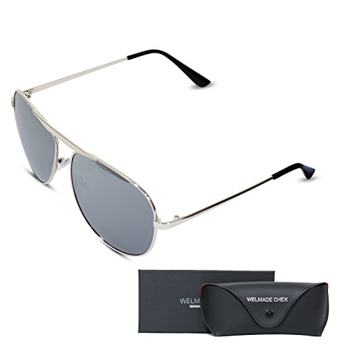Premium Classic Metal Frame Driving Aviator Sunglasses with Mirrored Polarized Lens for Outdoor Driving Fishing (Silver, - Online Sunglass