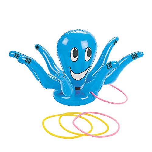 Fun Express - Inflate Octopus Ring Toss Game for Party - Toys - Inflates - Inflatable Games - Party - 5 Pieces