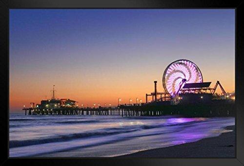 Ferris Wheel Sunset Santa Monica Pier Amusement Park Los Angeles Photo Art Print Framed Poster 18x12 by ProFrames - The Angeles Los Bay Heal