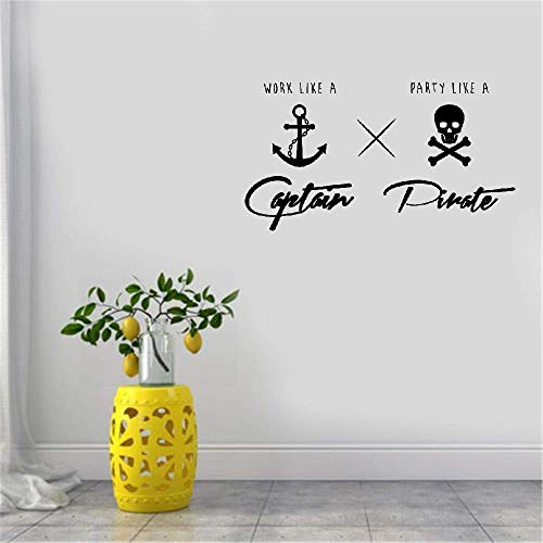 Jueray Quote Mirror Decal Quotes Vinyl Wall Decals Wall Sticker Work Like A Captain Party Like A Pirate for Office