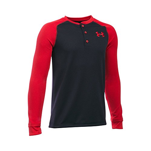 Under Armour Boys' Waffle Henley, Black/Red, Youth Large