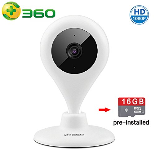 360 HD 1080P Wireless Security WiFi IP Camera Home Video Audio Surveillance Baby Monitor With Pre-installed 16G MicroSD Card by 360
