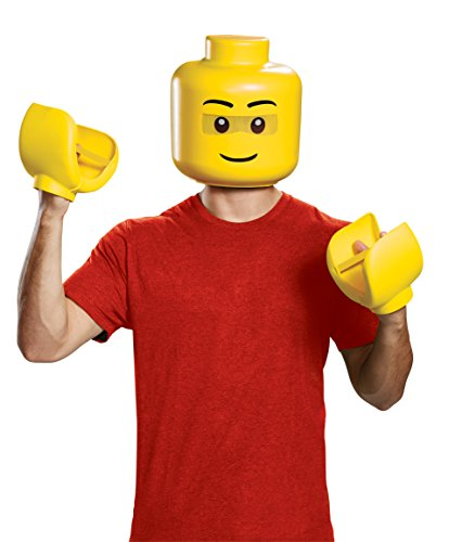Disguise Men's Lego Iconic Mask & Hands Adult Costume Kit, Yellow, One Size -