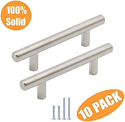10 Pack Stainless Steel T Bar Pull Kitchen Hardware Drawer Cabinet Door Handle