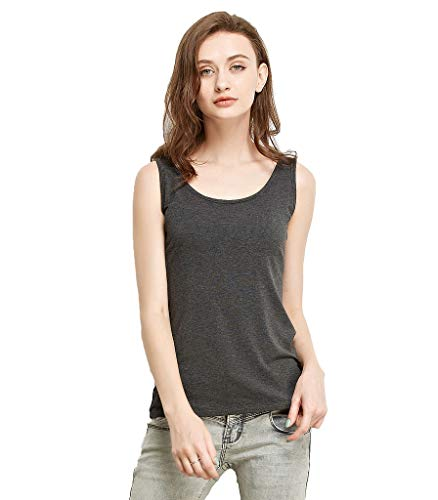 Liang Rou Women's Mini-Ribbed Stretch Scoop Neck Tank Top Dark Gray M (Cotton Rib Knit Tank)