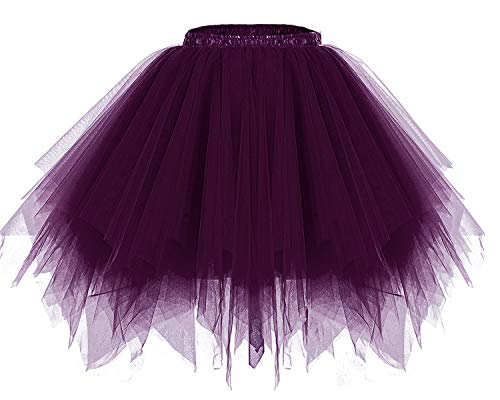 Bridesmay Women's Tutu Halloween Tulle Skirt 50s Vintage Ballet Bubble Dance Skirts Grape ()