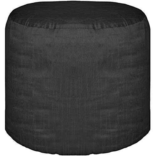 Ottoman Footstool Cover Polyester Round Pouf Cover Black 22