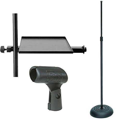 On Stage MS7201B Round Base Microphone Stand, Black + Mic Stand Tray + Mic Clip - Brand New (Ms7201b Round Base)
