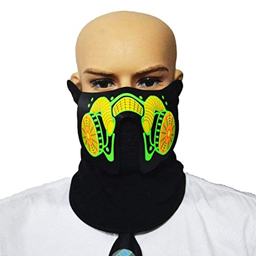 Sound Reactive Glowing Mask Led Mask Cool Party Mask Half Face for Festival Holloween Carnival Parade (Breathe Valve)]()