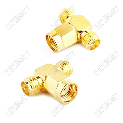 Gimax 2 Pieces Adapter RP-SMA Male Plug to 2 x RP-SMA Female Jack Splitter/Joiner 3 WAY ADAPTER 1:2 - Rp Sma Plug Male