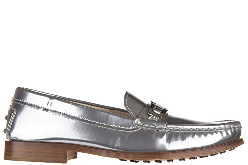 vn Leather Macro Silver Loafers Tod's Clamp Women's Moccasins Wgv6An