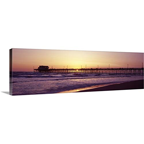 Premium Thick-Wrap Canvas Wall Art Print Entitled Pier Over The Ocean at Dusk Newport Pier Newport Beach Orange County California ()