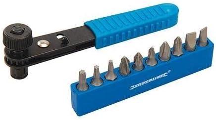 Silverline 404706 Juego de Destornilladores de Carraca, 11 Piezas, Negro y azul