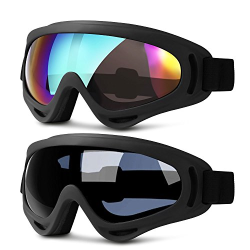 Ski Goggles, 2 Pack Updated Snowboard Goggles for Kids Men Women Boys & Girls with Thickening Sponge UV 400 Protection Windproof (gray & multicolor) - Mountaineering Best Sunglasses