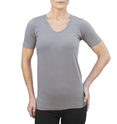Women's Bamboo Cotton T-shirt V Neck Top M (Organic Velour Pocket Fitted Diaper)