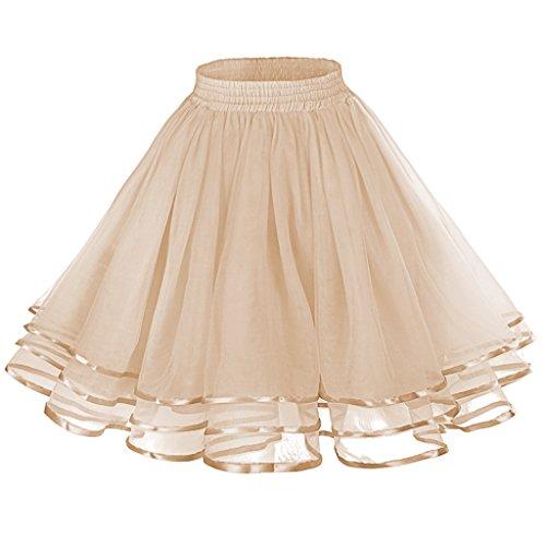 (LaceLady Women's Vintage Petticoat Tutu Underskirt Crinoline Dance with Belt Champagne)
