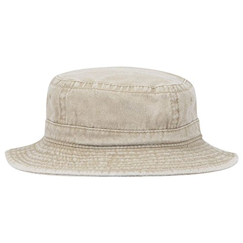 Pigment Dyed Cotton Twill Youth Bucket Hat - Khaki (Garment Washed Pigment Dyed Twill)
