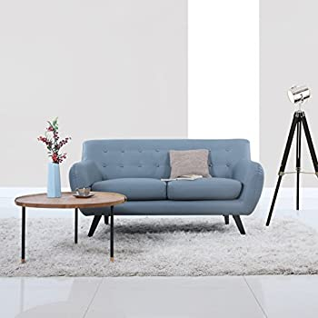 Mid Century Modern Tufted Bonded Leather Loveseat in Color Grey