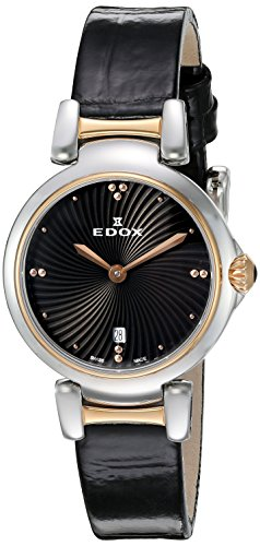 Edox Women's 57002 357RC NIR LaPassion Analog Display Swiss Quartz Black Watch