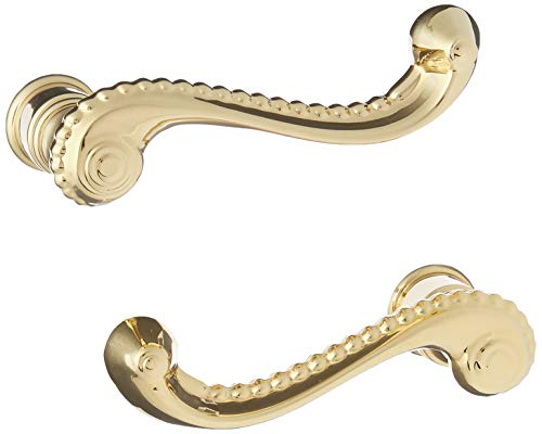 Baldwin 5104 Pair of Estate Rope Levers Without Rosettes, Lifetime Polished Brass