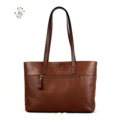 Tuscan Leather Color Brown Prestige Genuine Italy Bag Interior In Shopper Compartment Made Line With Leather PU7gqzw