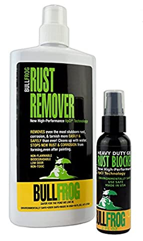 Bull Frog Rust Remover 16 Oz Bottle & Rust Blocker Gel Kit (2 Oz Sample Bottle) (Corrosion Blocker)