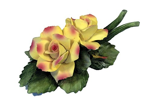 Capodimonte Two Roses on Stem 8 inch Porcelain