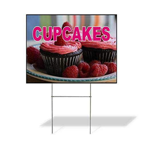 Plastic Weatherproof Yard Sign Cupcakes Brown Pink Red Cupcakes and Raspberries Cake Decorating/Custom Cakes White for Sale Sign Multiple Quantities Available 18inx12in One Side Print One - Brown Cakes Pink