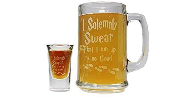 Harry Potter I Solemnly Swear I am up to no good Engraved Glass