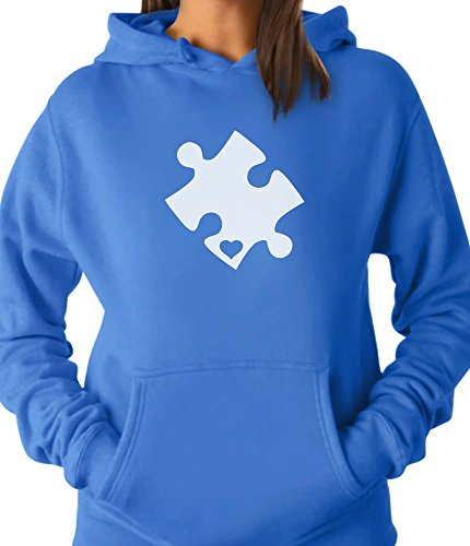 TeeStars - Autism Awareness Heart Cut Puzzle Women Hoodie Large California ()