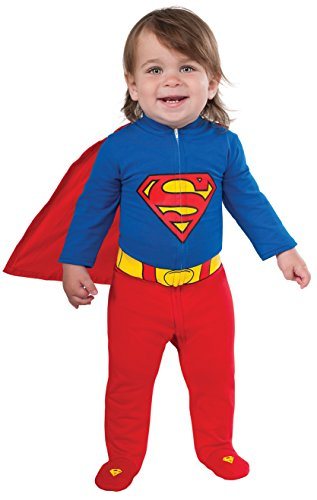 Rubie's Costume Baby's DC Comics Superhero Style Baby Superman Costume, Multi, 6-12 (Toddler Superman Halloween Costume)