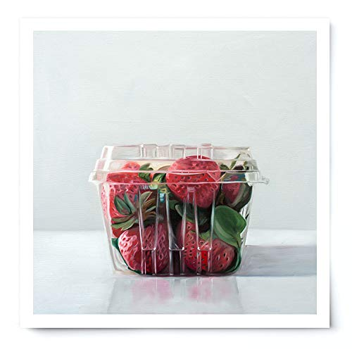 (Carton of Strawberries - Artist Signed Oil Painting Giclée Print Modern Home Office Wall Art Decor - Variety of Sizes Available)