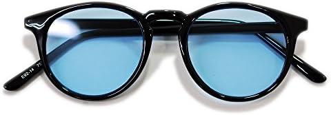 【全3色】 伊達メガネ サングラス ボストン ライトカラーレンズ フラットレンズ 薄い色 黒縁 黒ぶち 伊達めがね 伊達眼鏡 丸メガネ メンズ レディース UVカット アジアンフィット カラーレンズサングラス
