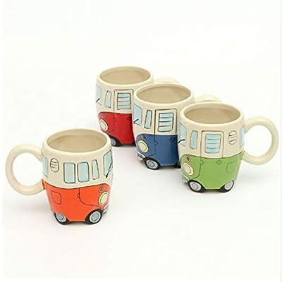 LOVELY 400Ml Creative Hand Painting Double Bus Mugs Retro Ceramic Cup Coffee Milk Tea Mug Drinkware Novetly Gifts