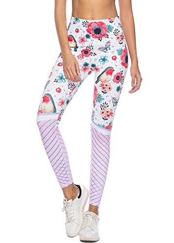 Mint Lilac Women's High Waist Printed Yoga Pants Full-Length Tummy Control Workout Leggings X-Large ()