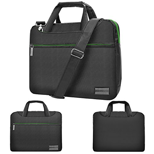 """Price comparison product image NineO 15 Inch 3-in-1 Nylon Water Resistant Padded Messenger Shoulder Bag Briefcase (Gray / Green) for Samsung NoteBook 3 / NoteBook 5 / NoteBook 7 / NoteBook 9 / odyssey Series 15.6"""" Laptop"""