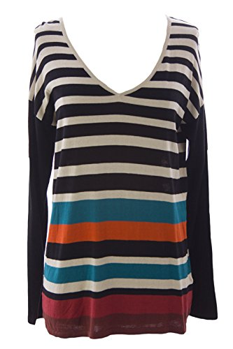 August Silk Women's Striped Raglan Sweater Medium Beige Black Combo ()