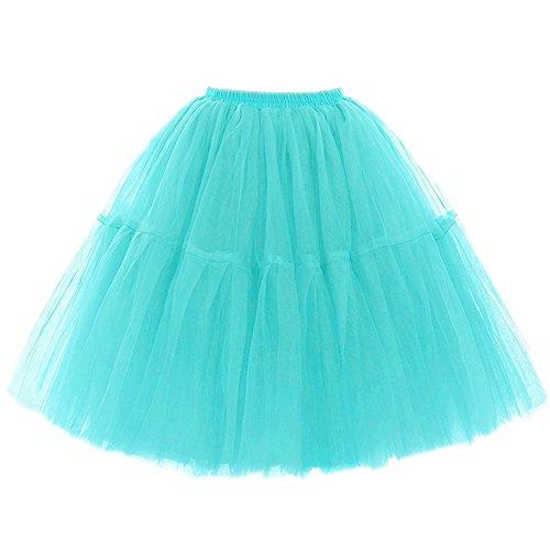 SCFL adulto de lujo suave de la gasa de la enagua de tul falda del tutú de las mujeres del tutú del ballet del traje de la danza de múltiples capas de la enagua de la falda hinchada mint-green
