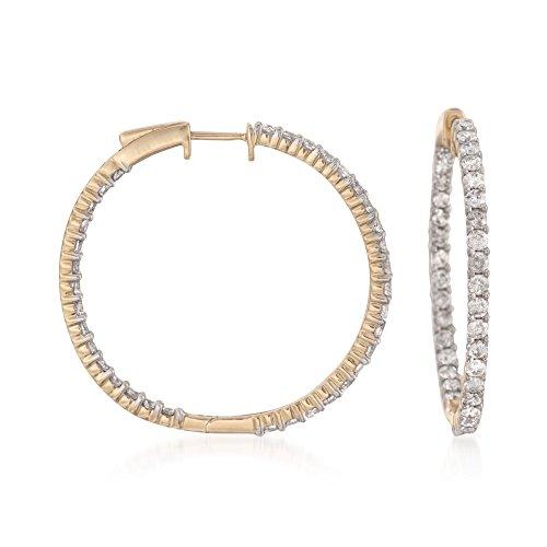 Ross-Simons 3.00 ct. t.w. Diamond Inside-Outside Hoop Earrings in 14kt Yellow Gold ()