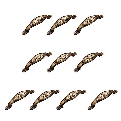- JWI Carving Roses Antique Bronze Color Zinc Alloy Bow Handle Vintage Rustic Style Cabinet Knobs Closet Bookcase Drawer Pull Handles Set/10Pcs 135MM for Kitchen Cupboard Door Closet Drawer