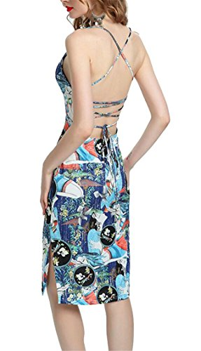 Spaghetti Print Strap Womens Dress Backless Cocktail Sexy Jaycargogo Floral 2 AgFIctqc